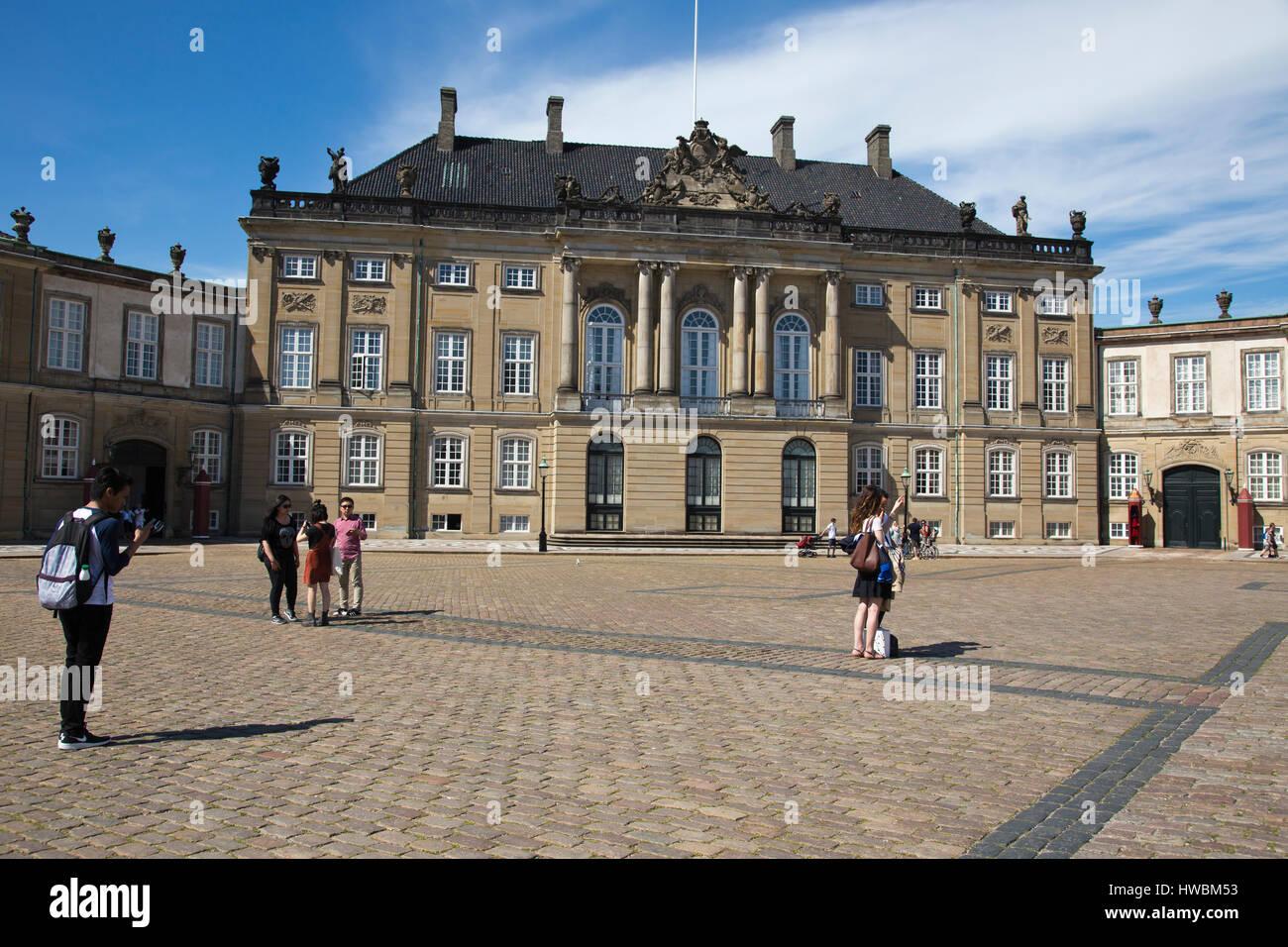 Amalienborg Palace, Copenhagen, Denmark - Stock Image