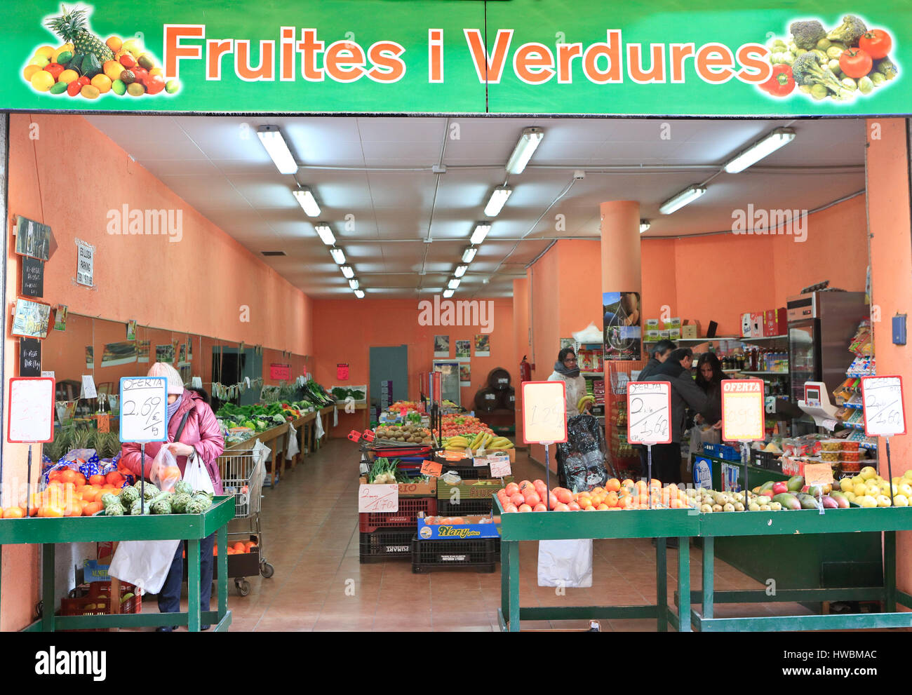 Fruit and Vegetable store,Calella, Spain Stock Photo