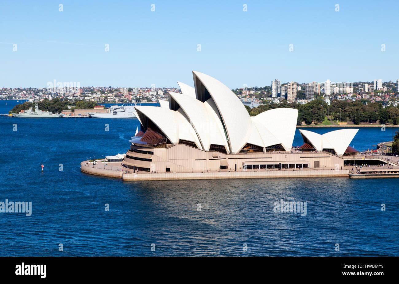 Sydney Opera House from Harbour Bridge, Sydney, Australia - Stock Image