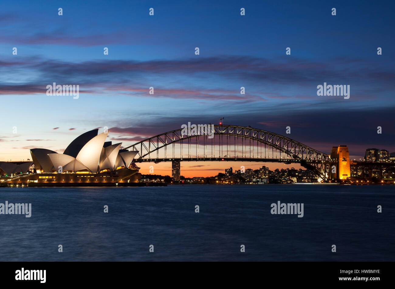 Sydney Opera House and Harbour Bridge at Dusk, Sydney, Australia - Stock Image