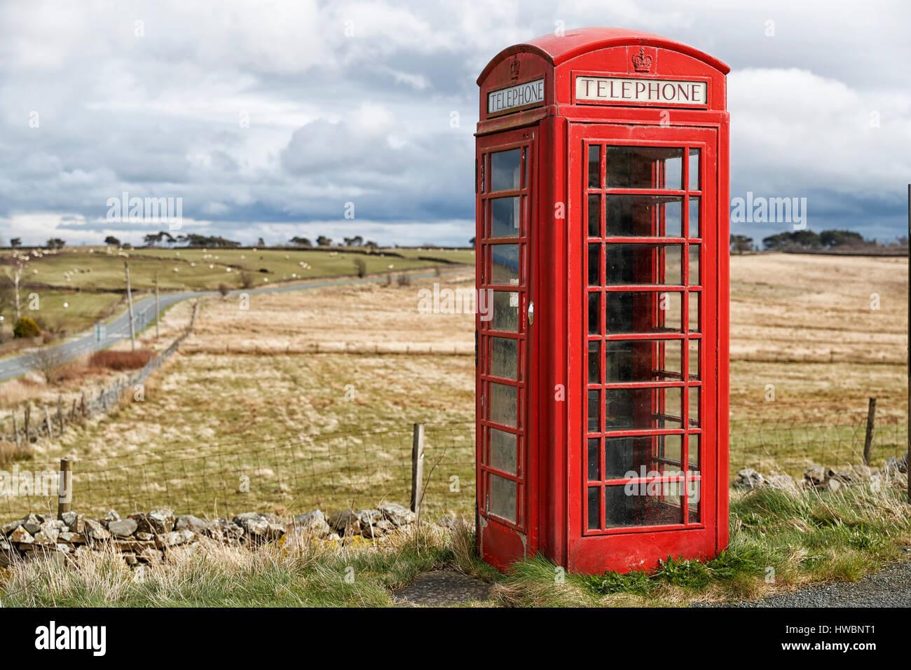 A British Telecom Telephone box, Thruscross. Harrogate, North Yorkshire, UK - Stock Image