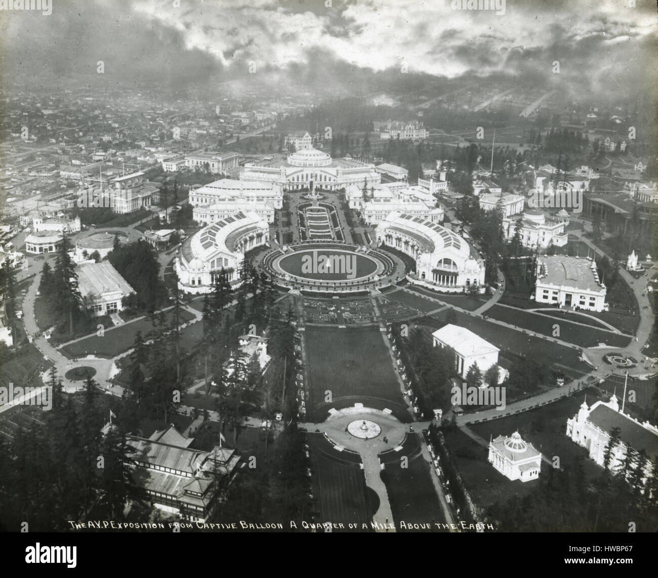 Antique 1909 photograph, 'The AYP Exposition from the Captive Balloon a Quarter of a Mile Above the Earth.' - Stock Image