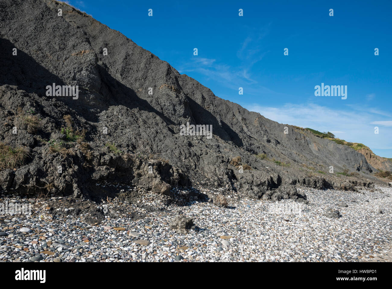 Speeton clay at Filey bay. An area well known for its fossil finds on the coast of North Yorkshire. Stock Photo