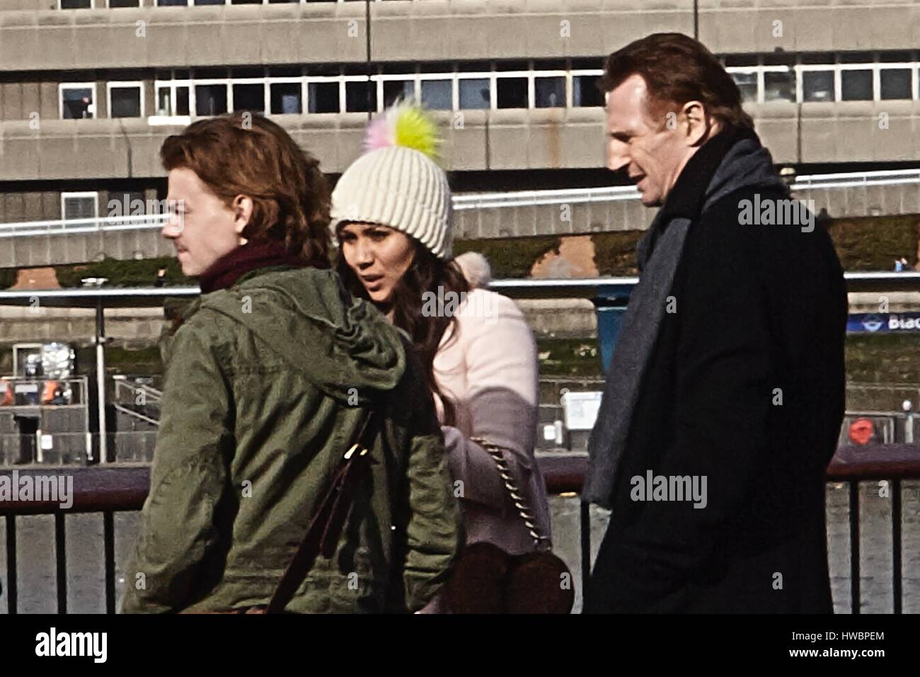 Love Actually 2' filming on the Southbank  Featuring: Thomas Brodie-Sangster, Olivia Olson, Liam Neeson Where: - Stock Image