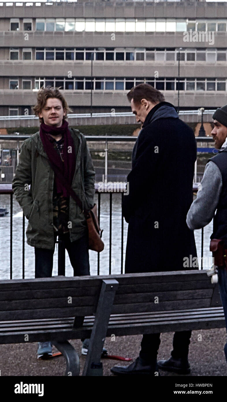 Love Actually 2' filming on the Southbank  Featuring: Liam Neeson, Thomas Brodie-Sangster Where: London, United - Stock Image
