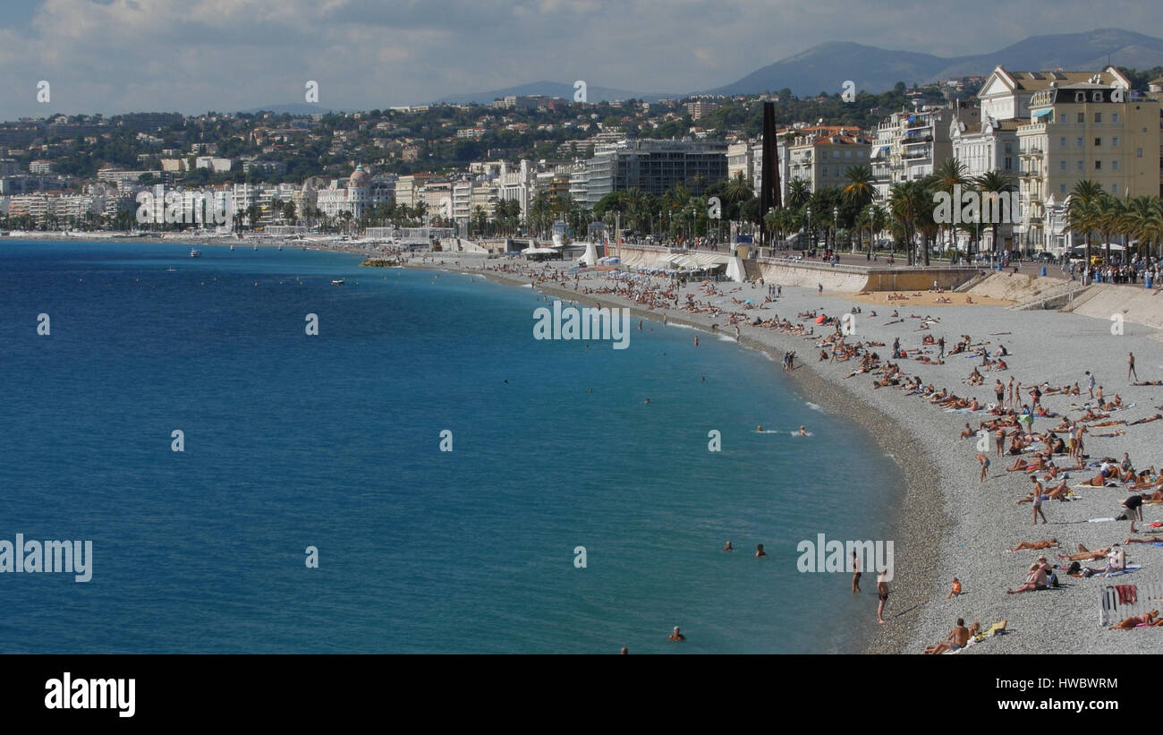 Coasline in Nice town, France. - Stock Image