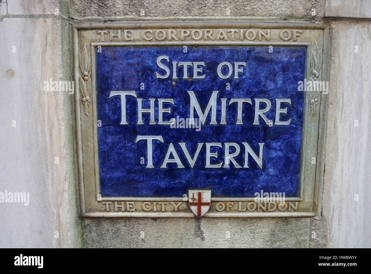 Blue Plaque Site of The Mitre Tavern, City of London, England, United Kingdom - Stock Image