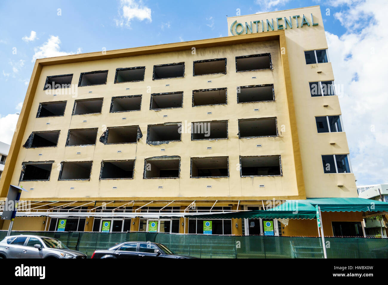 Miami Beach Florida Collins Avenue Continental Hotel gutted building under renovation construction site - Stock Image