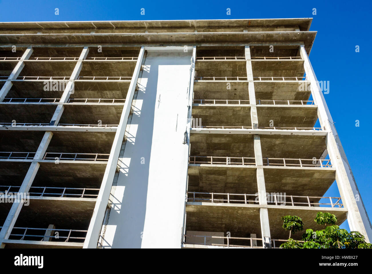 Miami Beach Florida West Avenue building gutted high-rise structure former South Shore Hospital redevelopment - Stock Image