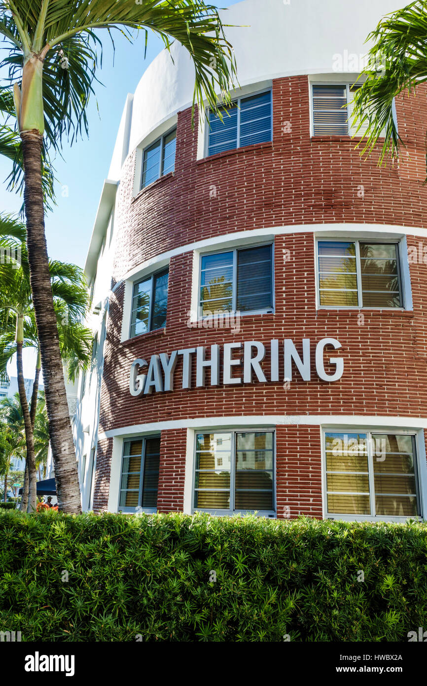 Miami Beach Florida Hotel Gaythering hotel exterior sign gay friendly - Stock Image
