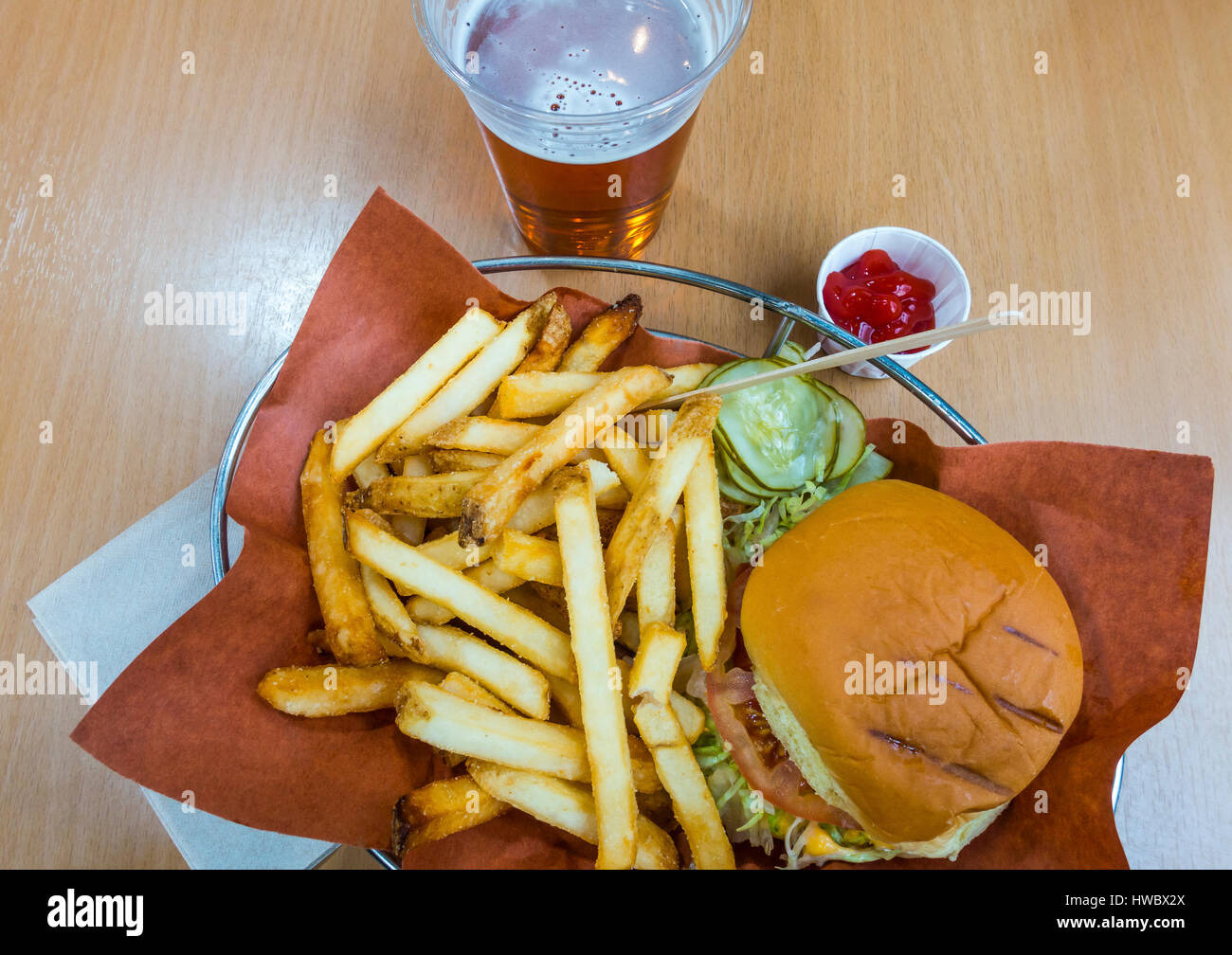 Burger, fries and beer Stock Photo