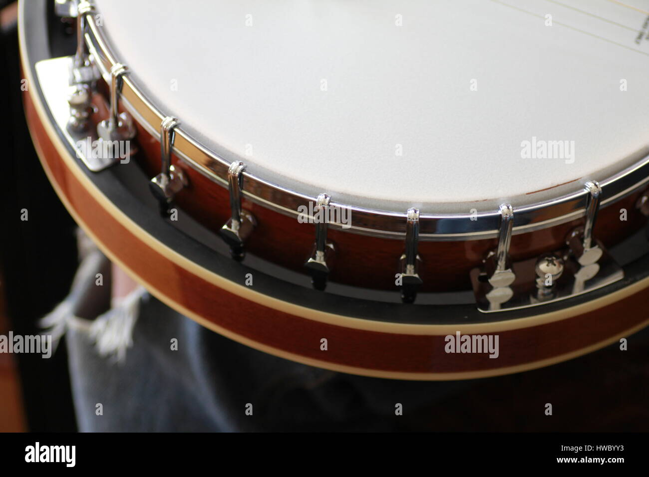 Macro of Banjo with six strings - Stock Image