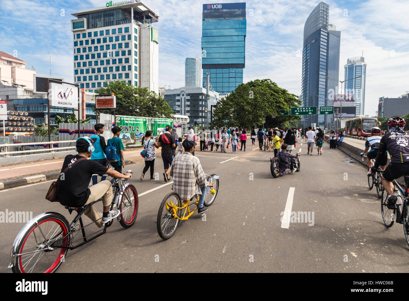 JAKARTA, INDONESIA - SEPTEMBER 25, 2016: Cyclists enjoy riding their custom made bike on car free day, which happens - Stock Image