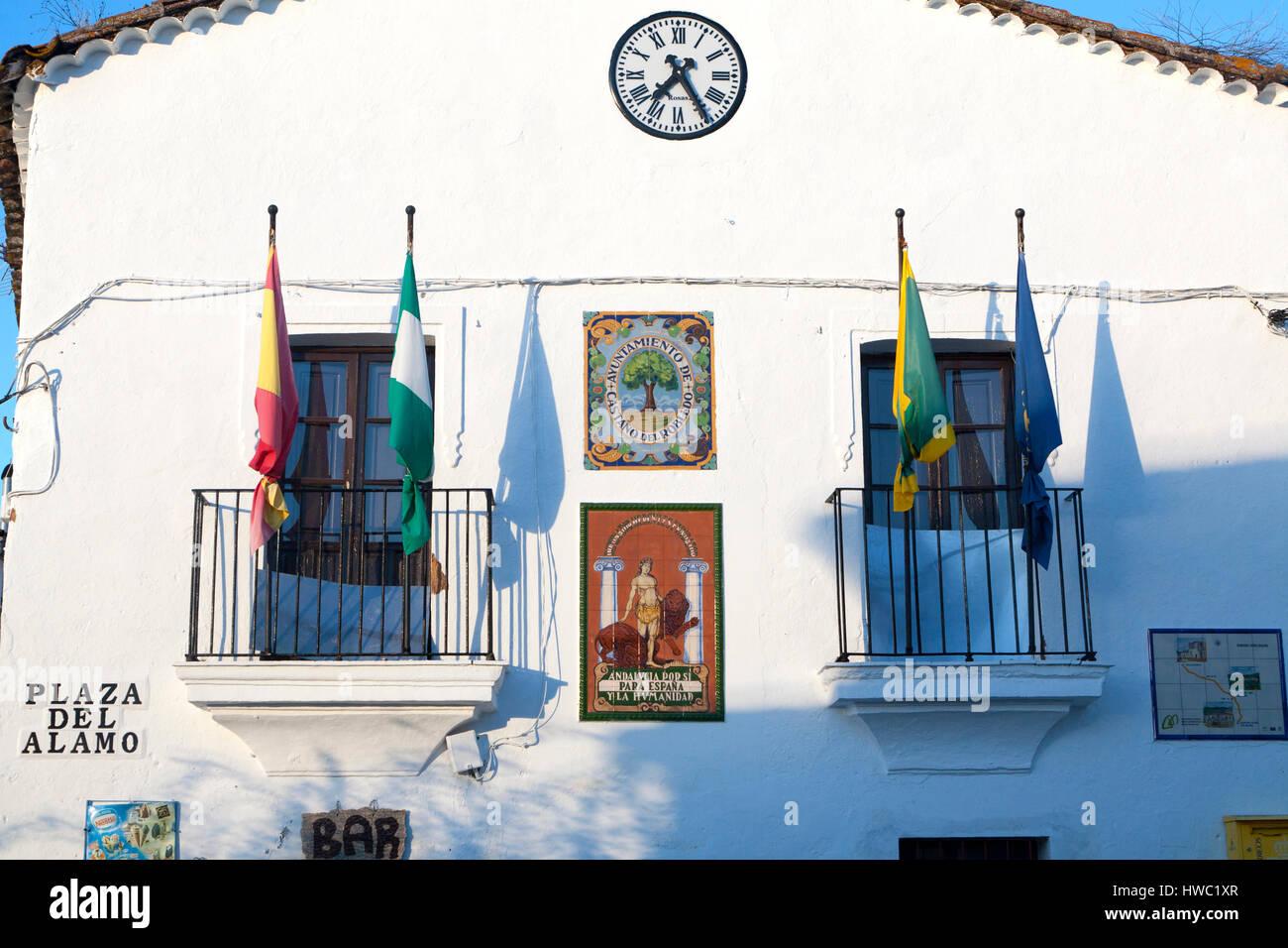 Ayuntamiento town hall building village of Castano del Robledo, Sierra de Aracena, Huelva province, Spain Stock Photo