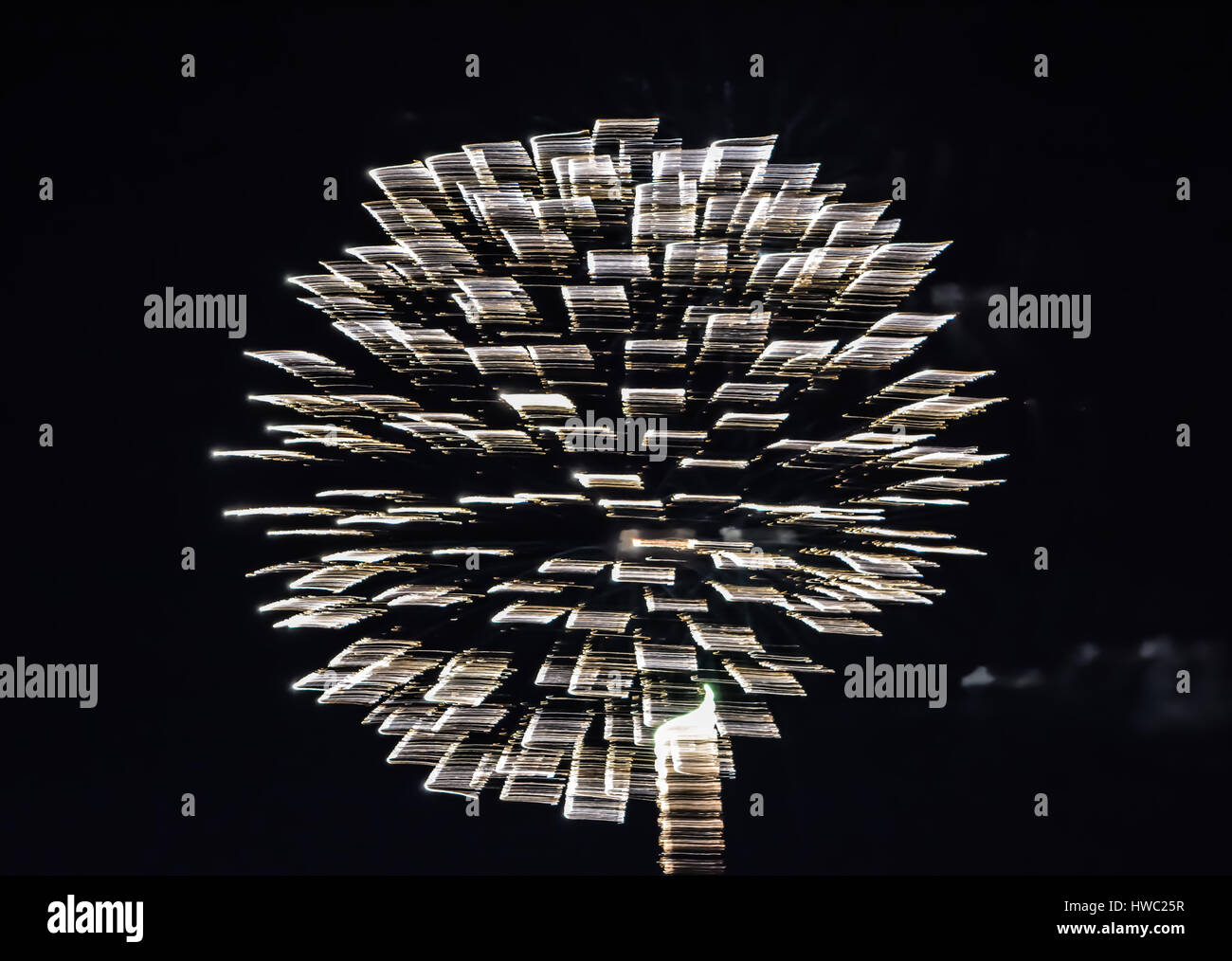 sparkle whit light fire works - Stock Image