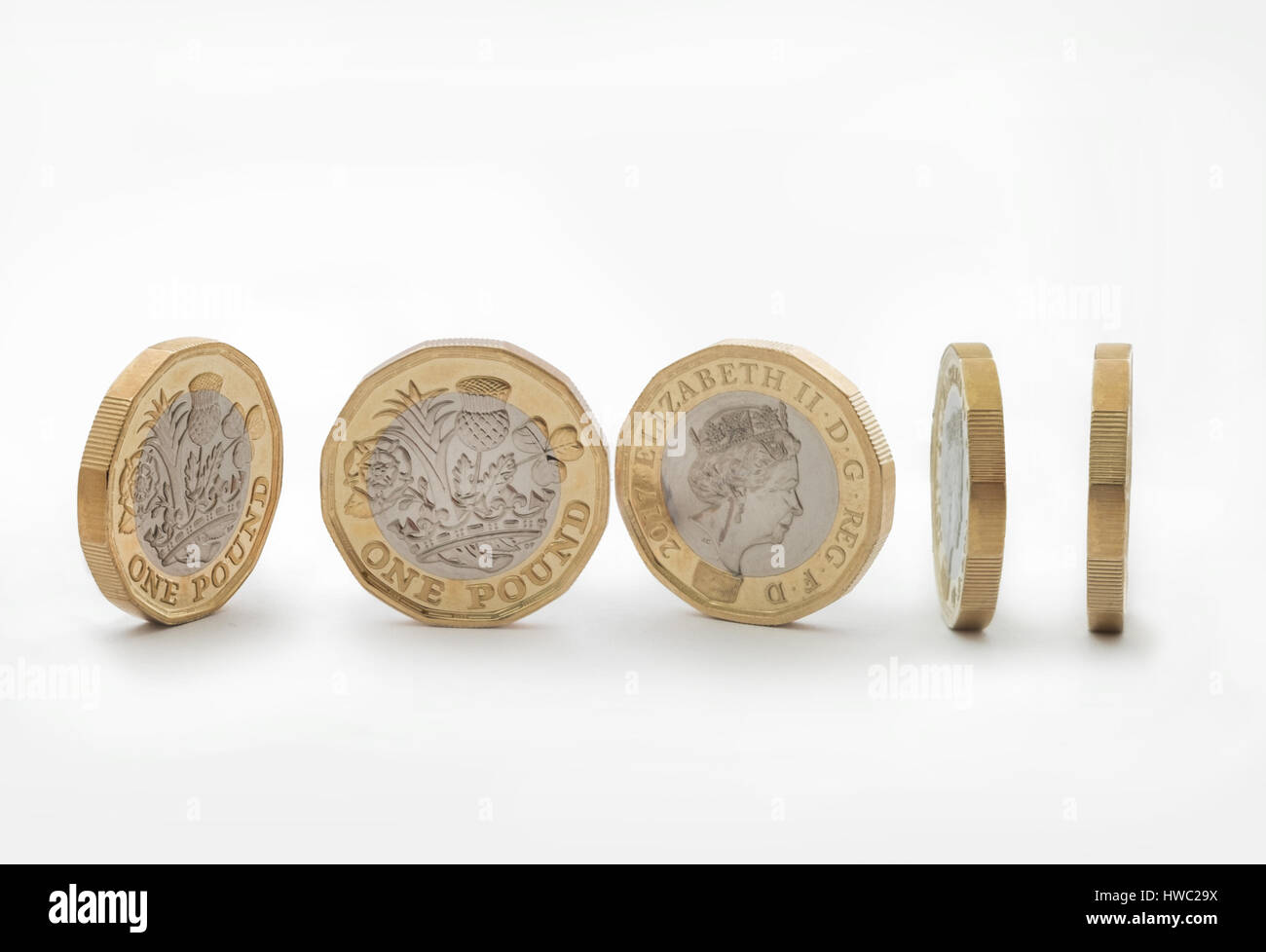 New 2017 design pound coin - Stock Image