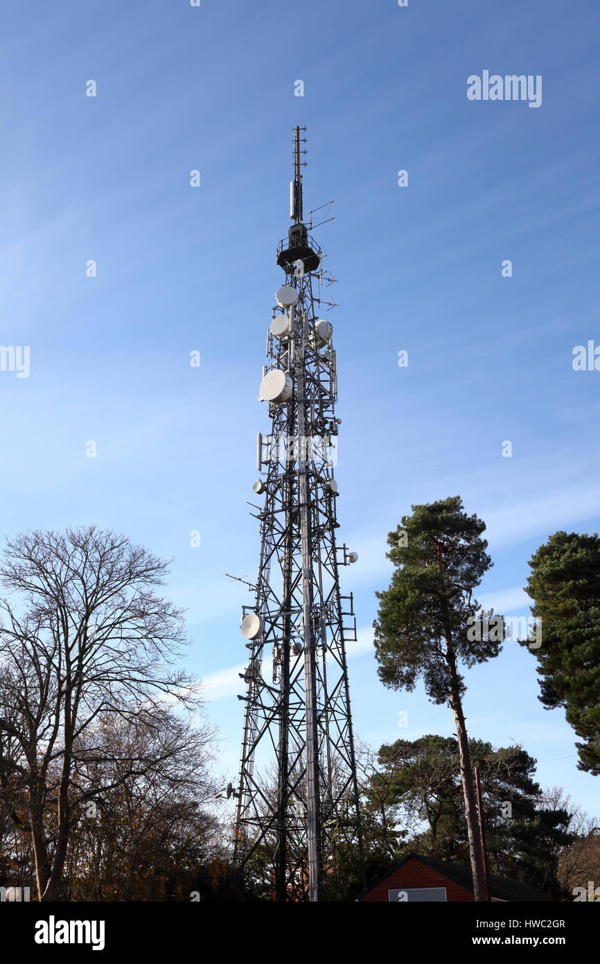 Radio telecommunications and television signal repeater relay mast for Poole at Parkstone, Dorset UK - Stock Image