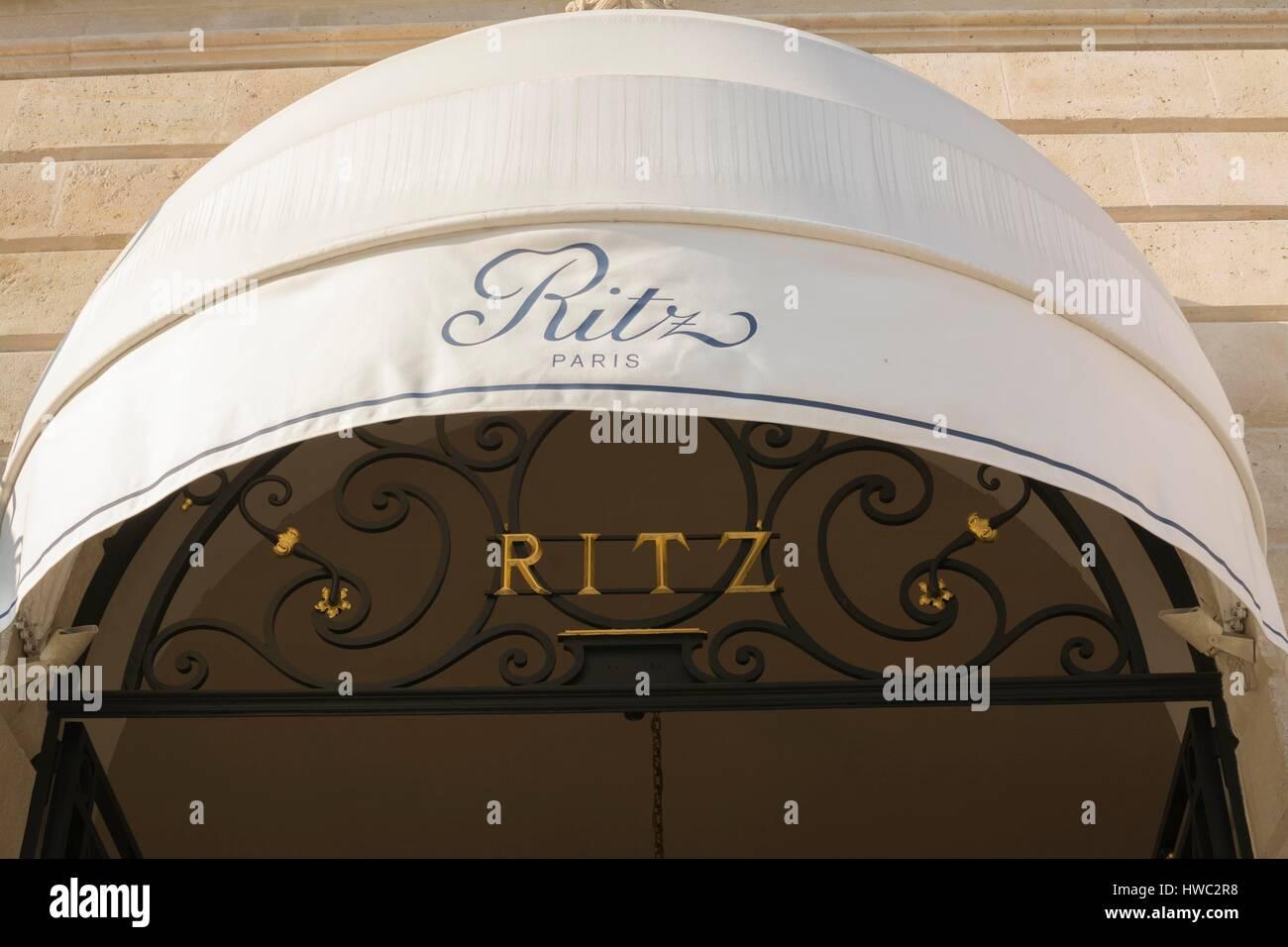 Ritz Hotel in Vendome Square, Paris, France - Stock Image