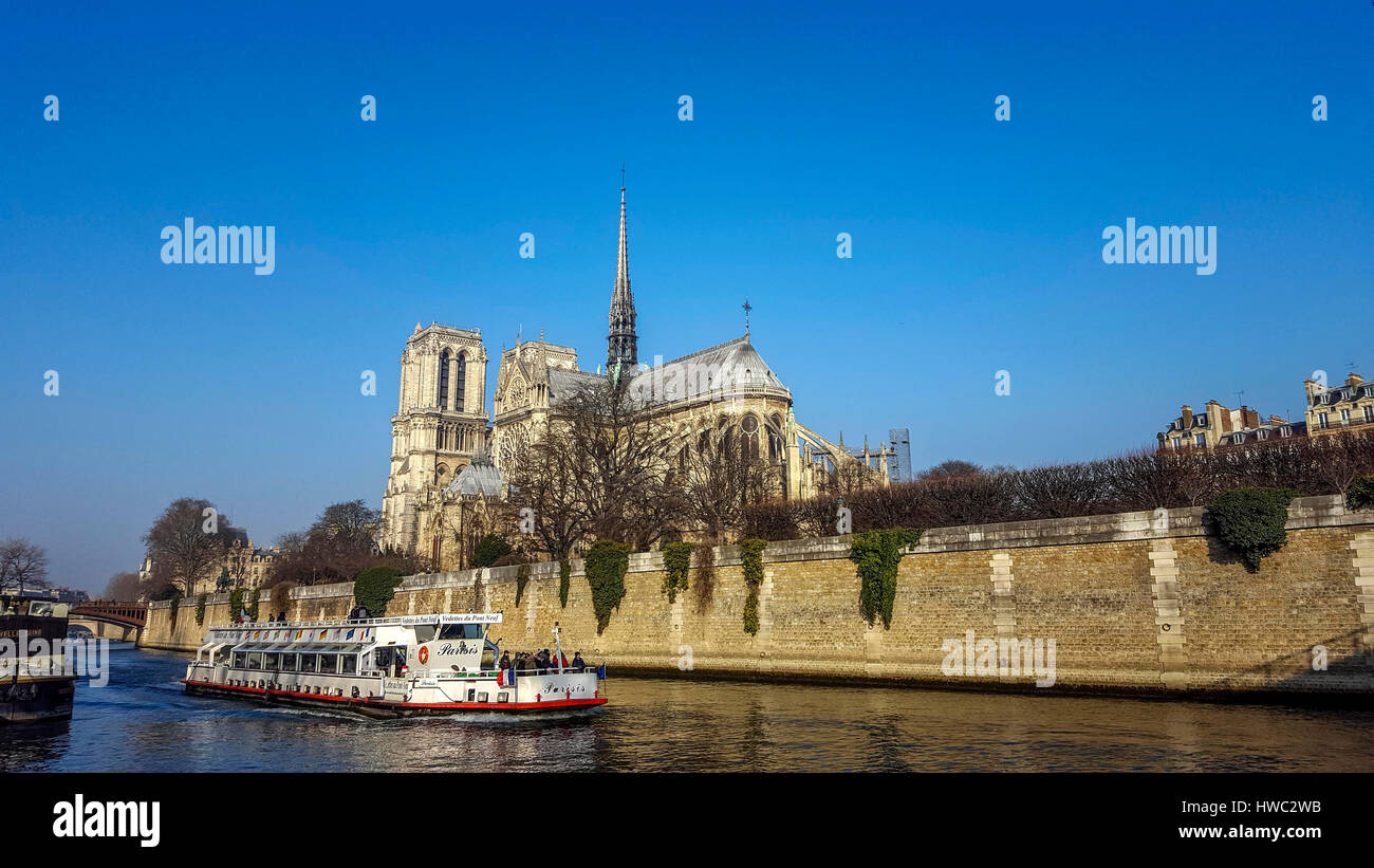 River Seine, Cathedral Notre Dame de Paris. France - Stock Image