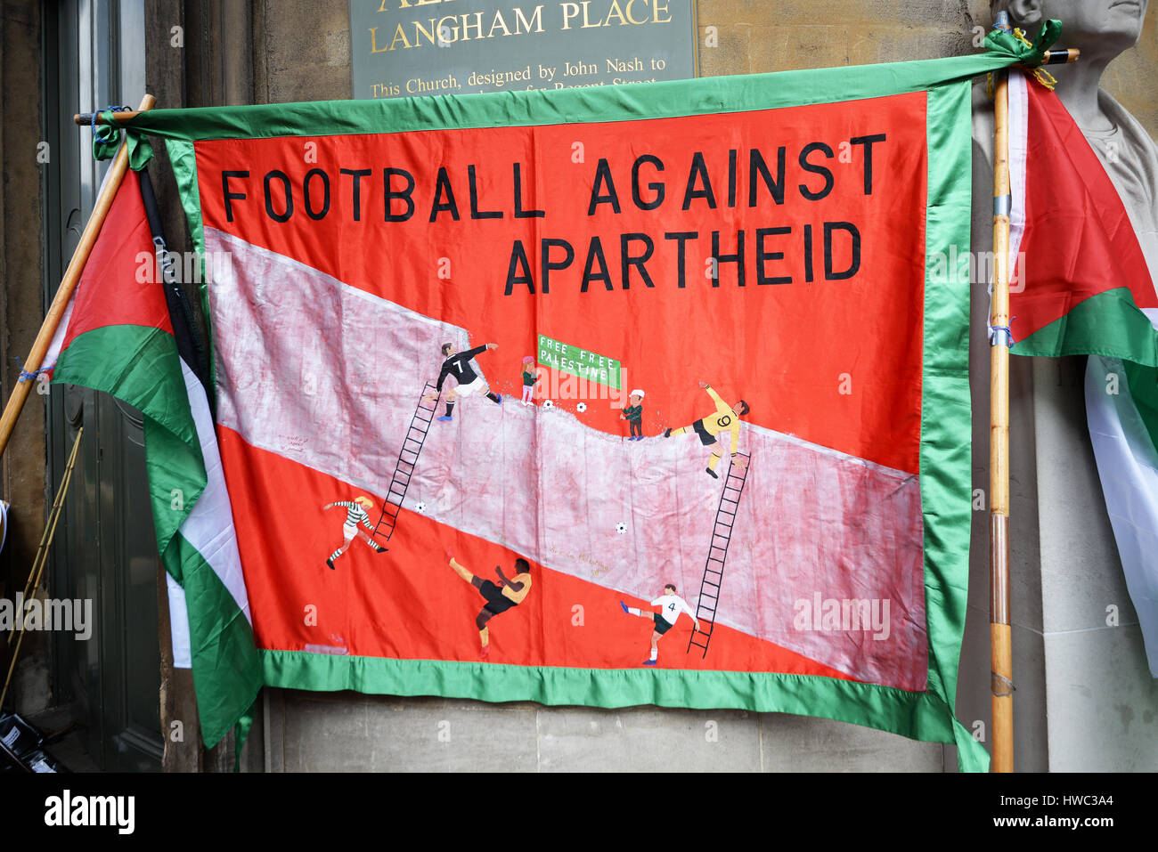 Football against apartheid. A demonstration took place in London on United Nations Anti Racism Day starting at Portland - Stock Image