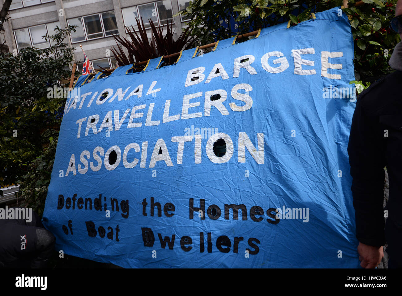 National Bargee Travellers Association. A demonstration took place in London on United Nations Anti Racism Day starting - Stock Image