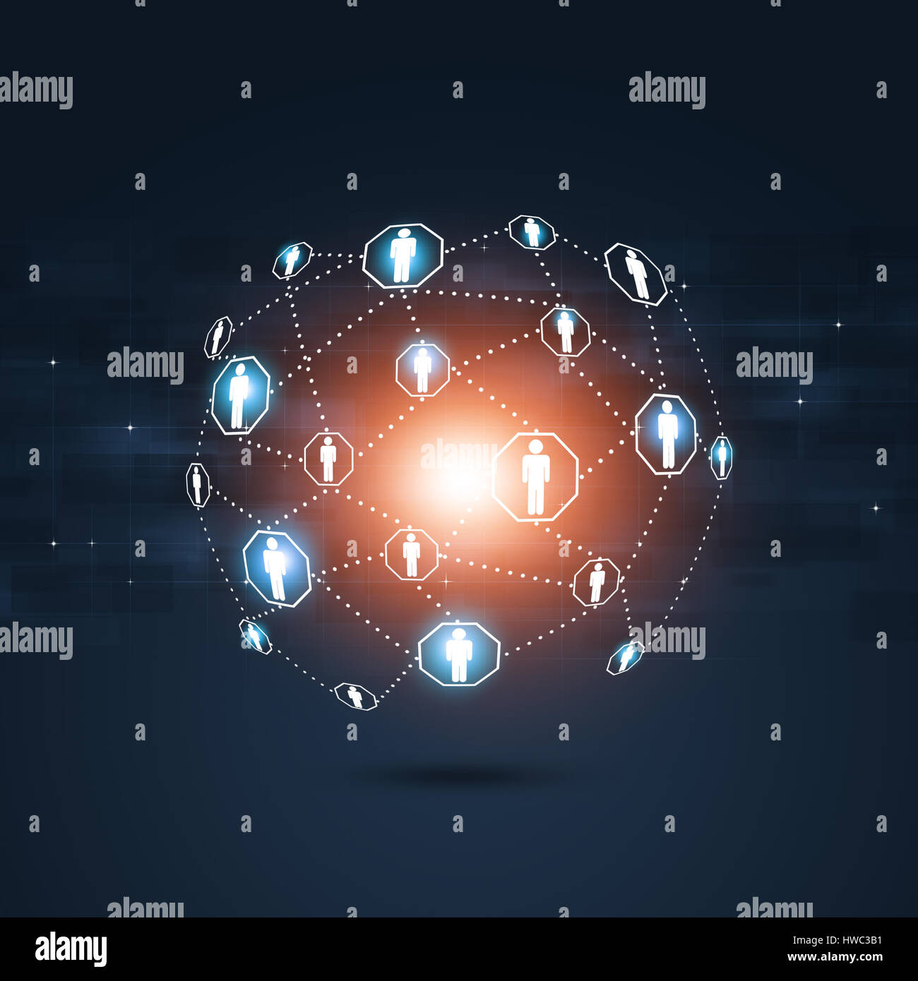 abstract technology global people communications blue background - Stock Image