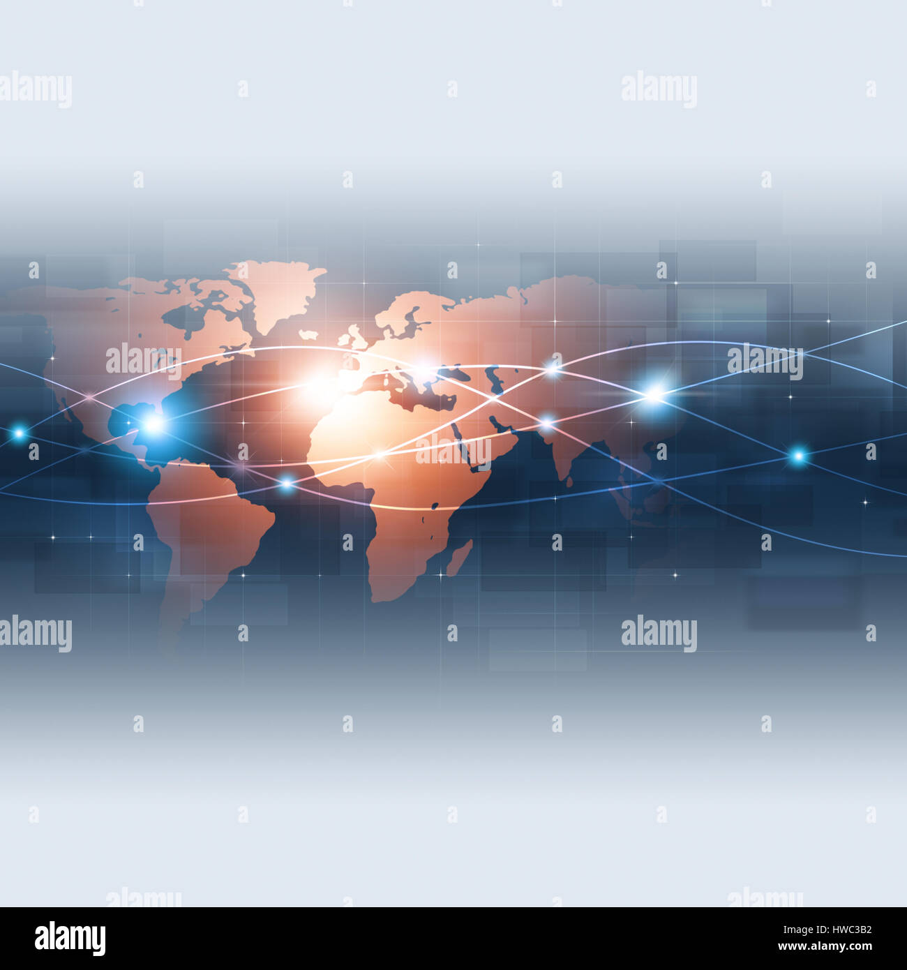 abstract technology global network connection blue background Stock Photo