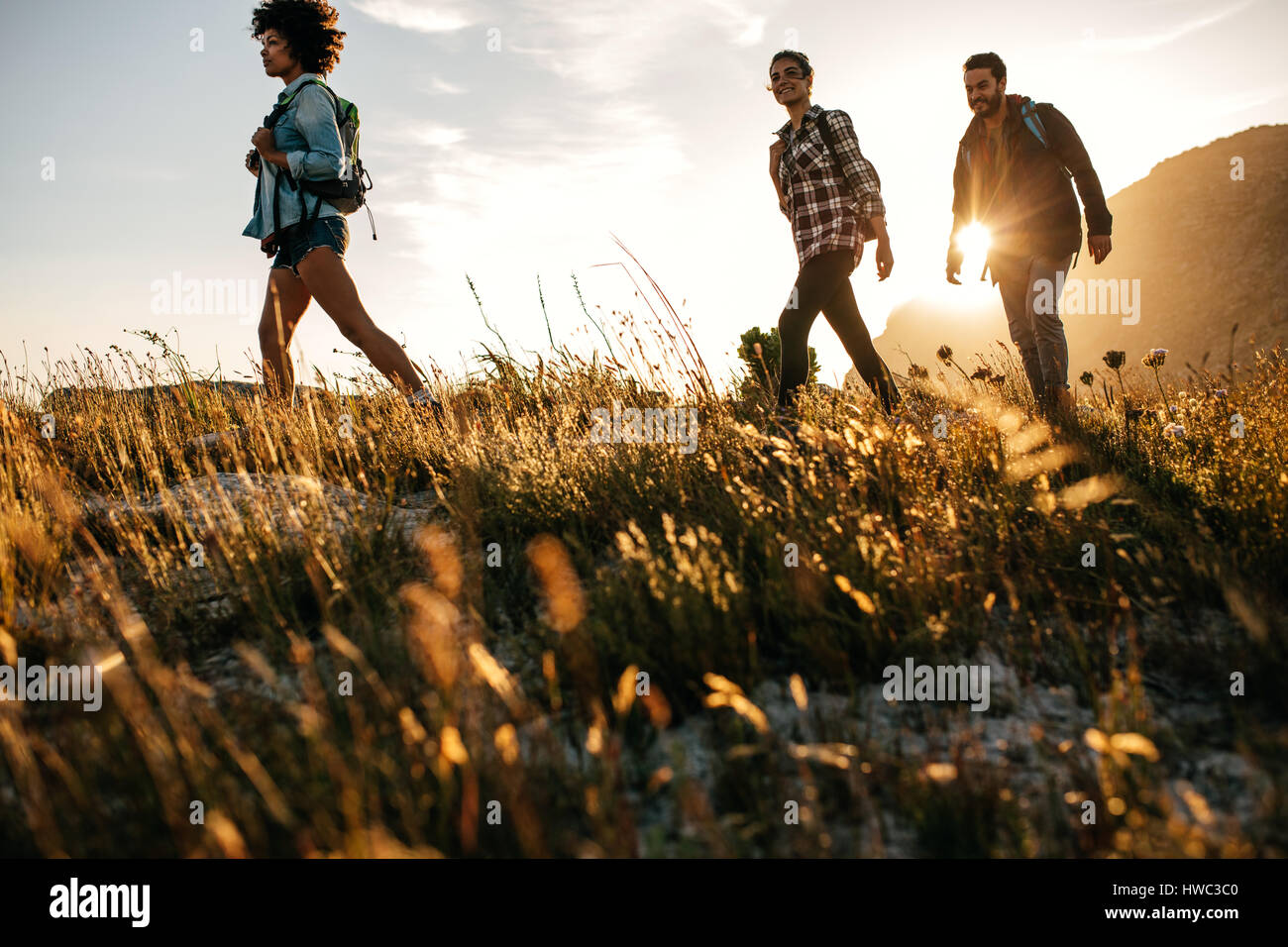 Three young friends on a country walk. Group of people hiking through countryside. - Stock Image