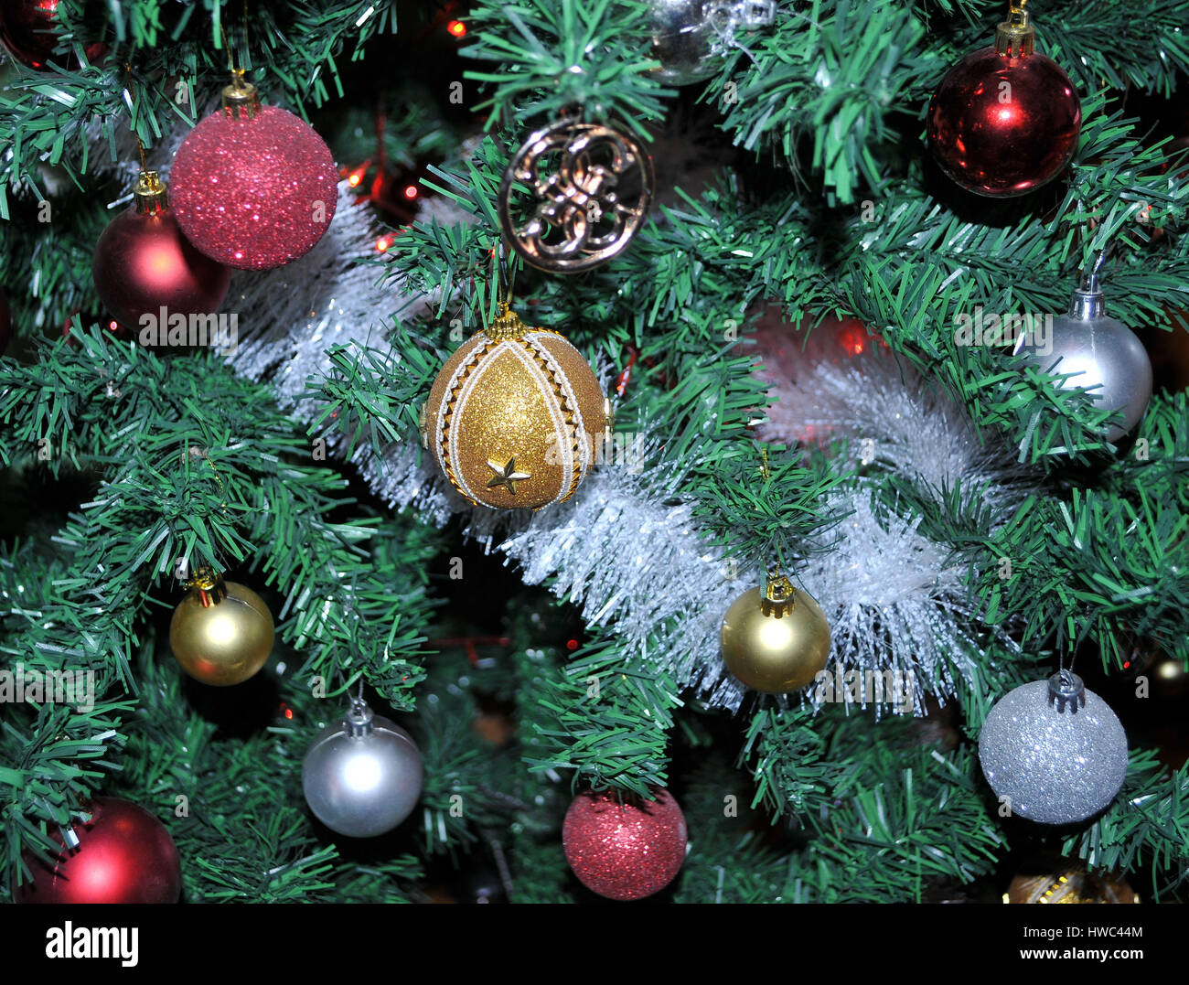 Colorful Christmas Tree Decorations.Christmas Tree Decoration With Various Colorful And