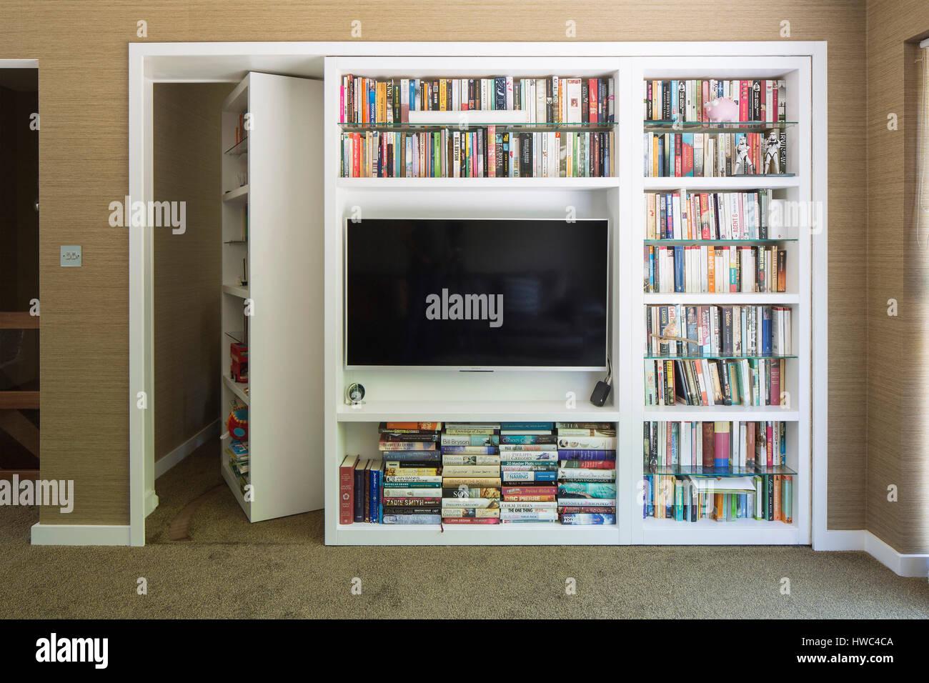 View Of Bookshelf With Hidden Door Private House Roydon