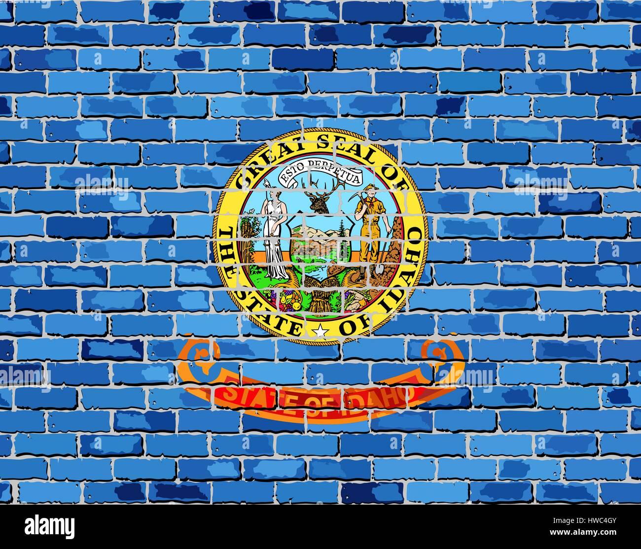 Flag of Idaho on a brick wall - Illustration,  The flag of the state of Idaho on brick background - Stock Vector
