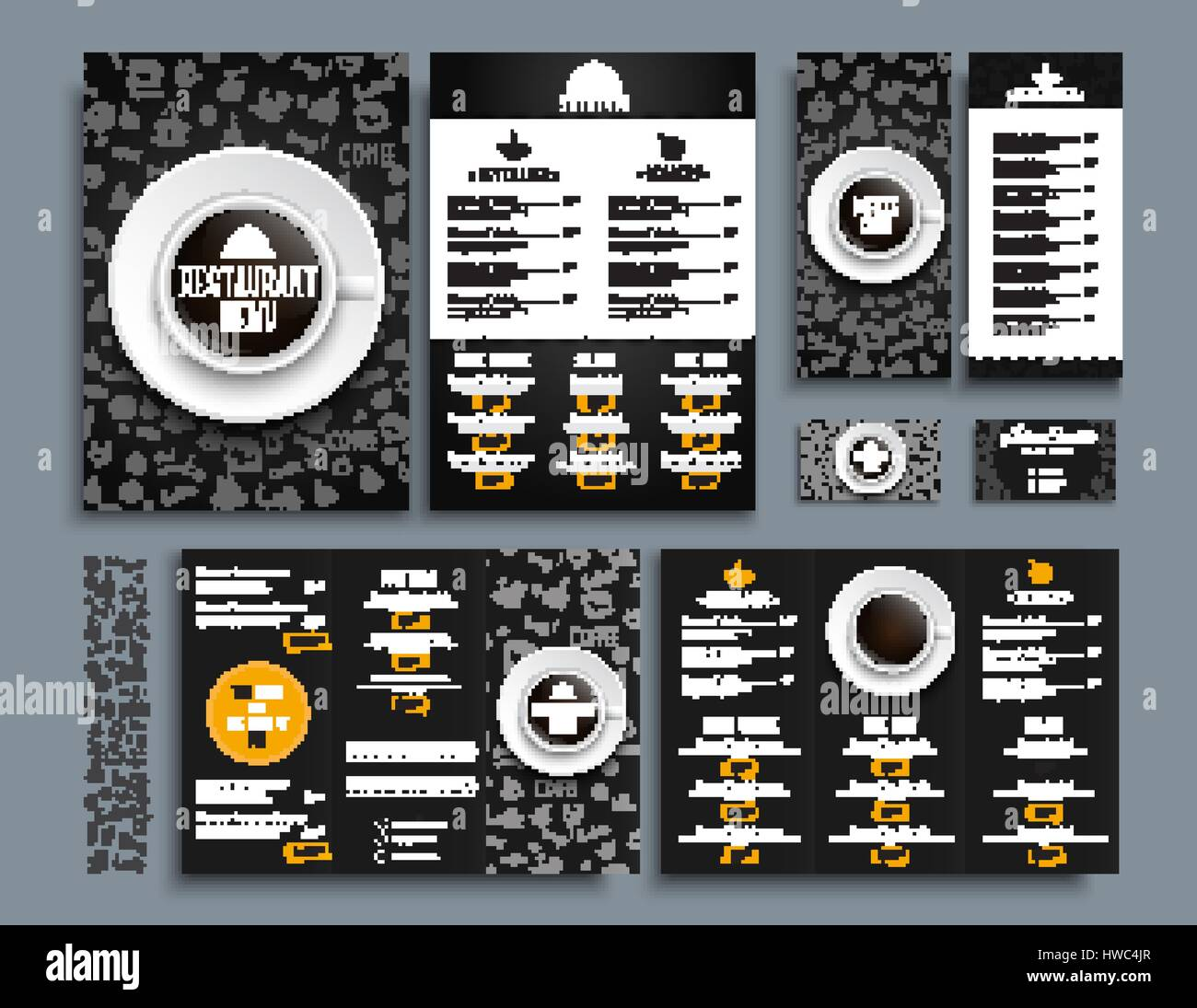 Set of business cards and a4 menu folding brochures and flyers size set of business cards and a4 menu folding brochures and flyers size 210x99 mm for restaurant or cafe templates of black and white style with drawin reheart Choice Image