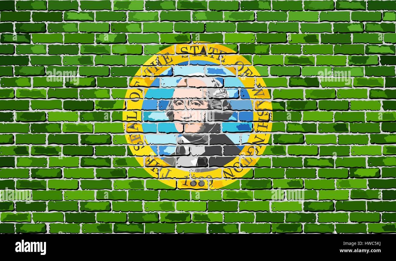 Flag of Washington on a brick wall - Illustration,  The flag of the state of Washington on brick textured background - Stock Vector