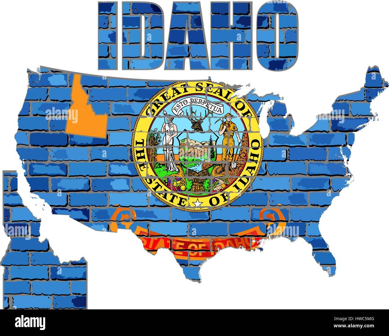 Idaho on a brick wall - Illustration, Font with the Idaho flag,  Idaho map on a brick wall - Stock Vector