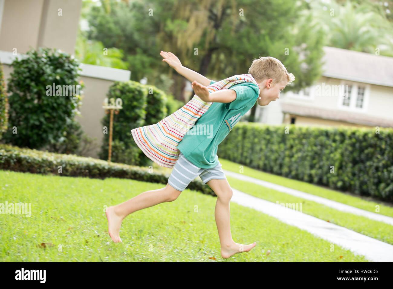 Boy dressed up like superhero - Stock Image