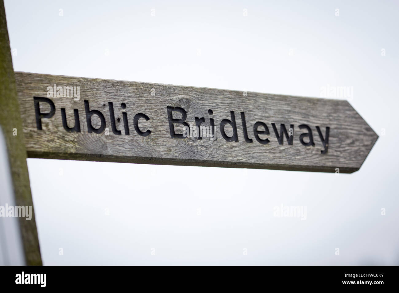 Public bridleway sign in England - Stock Image
