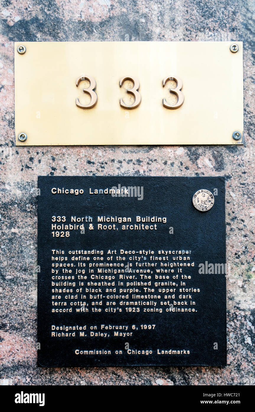 Chicago Landmark sign on 333 North Michigan Building. Designated by Mayor Richard M. Daley in 1997. - Stock Image