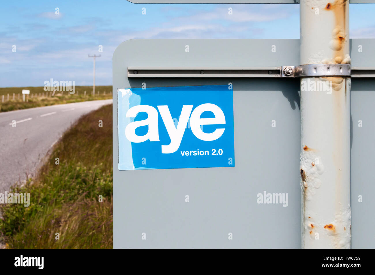 Aye version 2.0 sticker in Scotland supports a second Scottish referendum on independence. - Stock Image