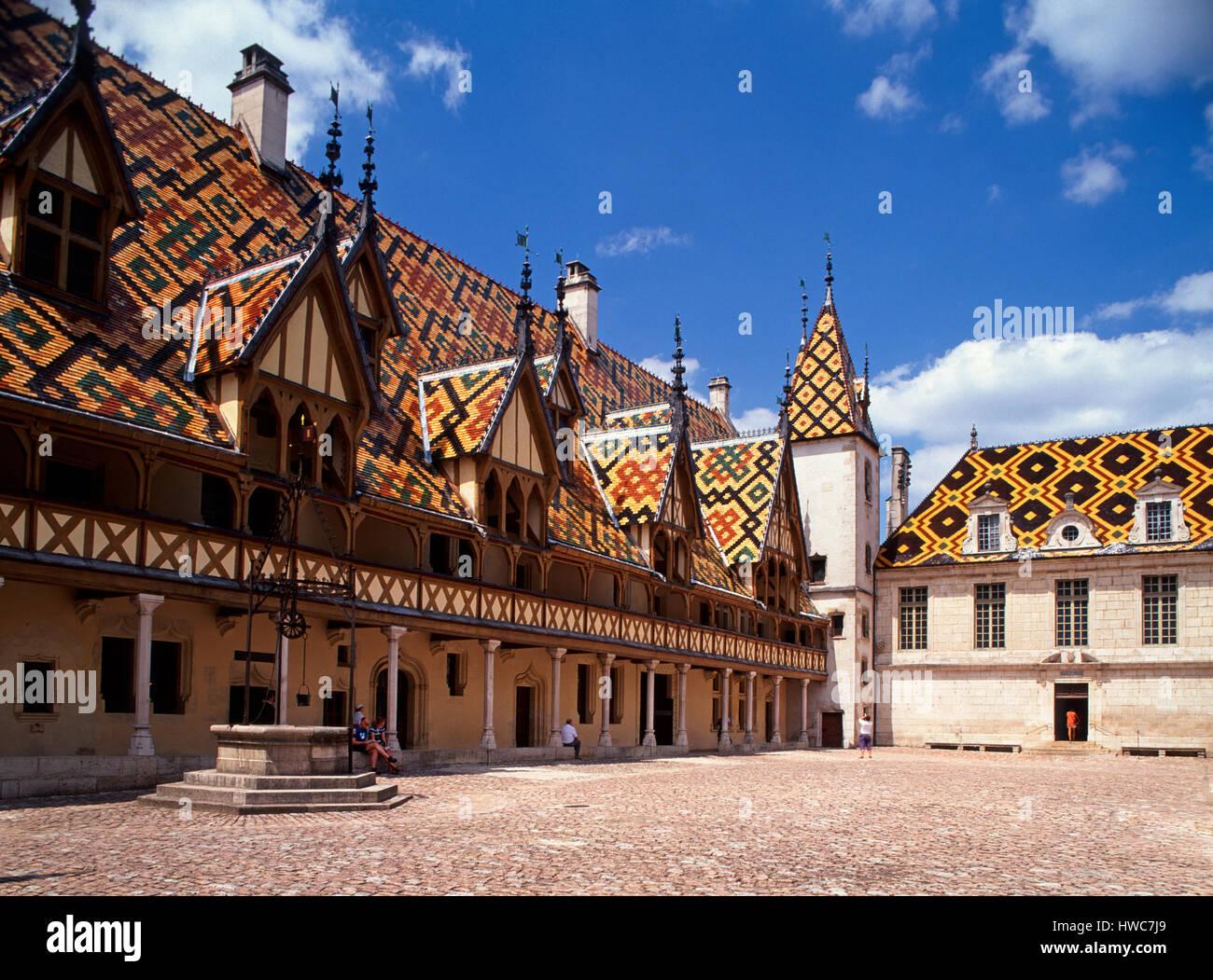 Hospices de Beaune, Beaune, Burgundy, France. - Stock Image