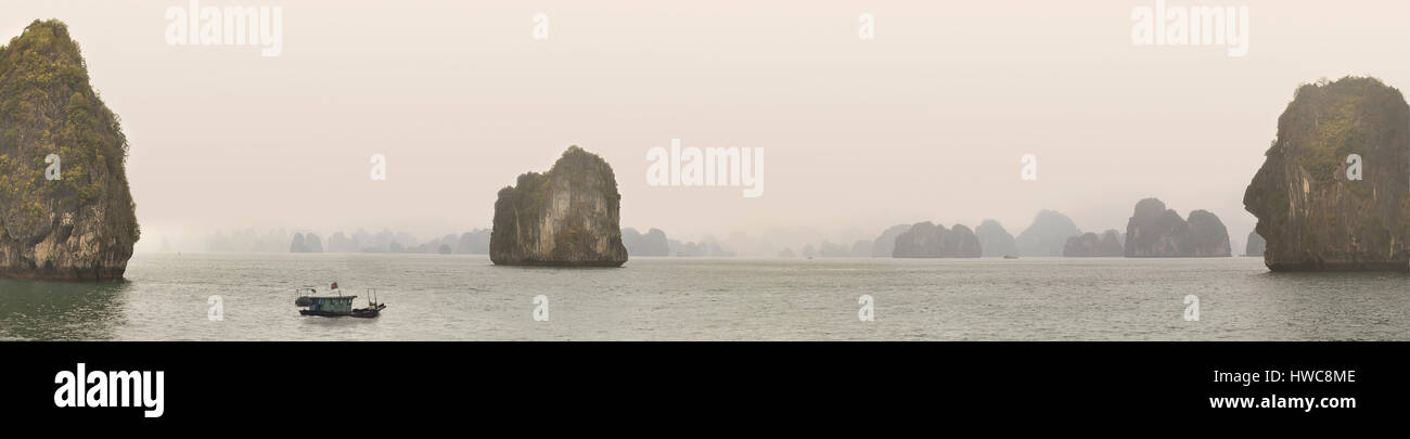 Halong Bay, Vietnam, limestone outcrops rise from the South China sea - Stock Image