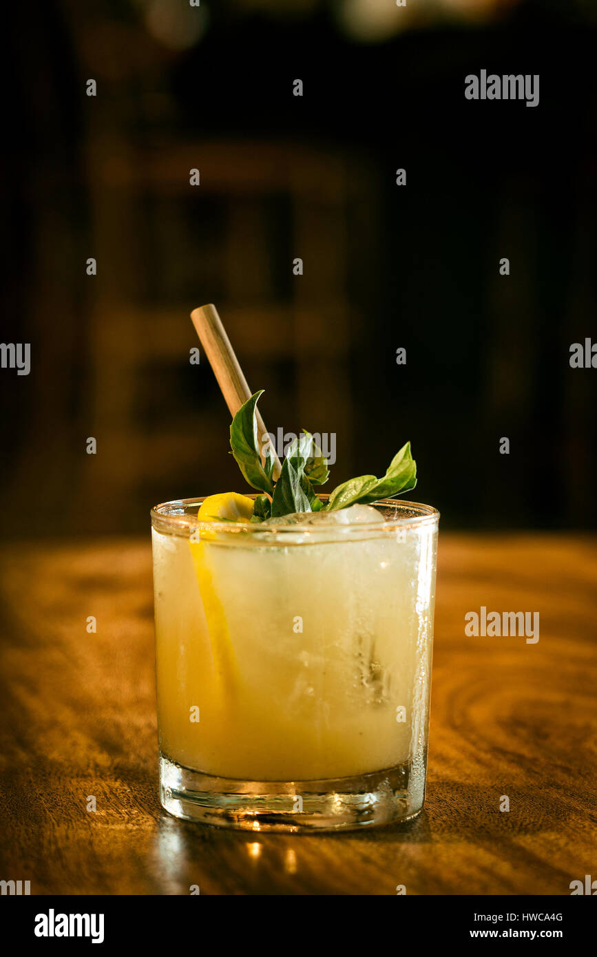 mint julep cocktail drink in modern bar Stock Photo
