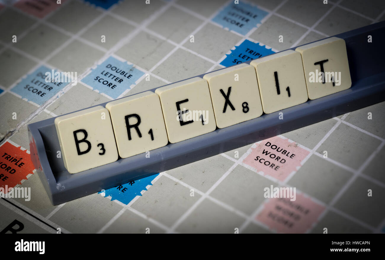 Scrabble Letters Spelling out Brexit - Stock Image