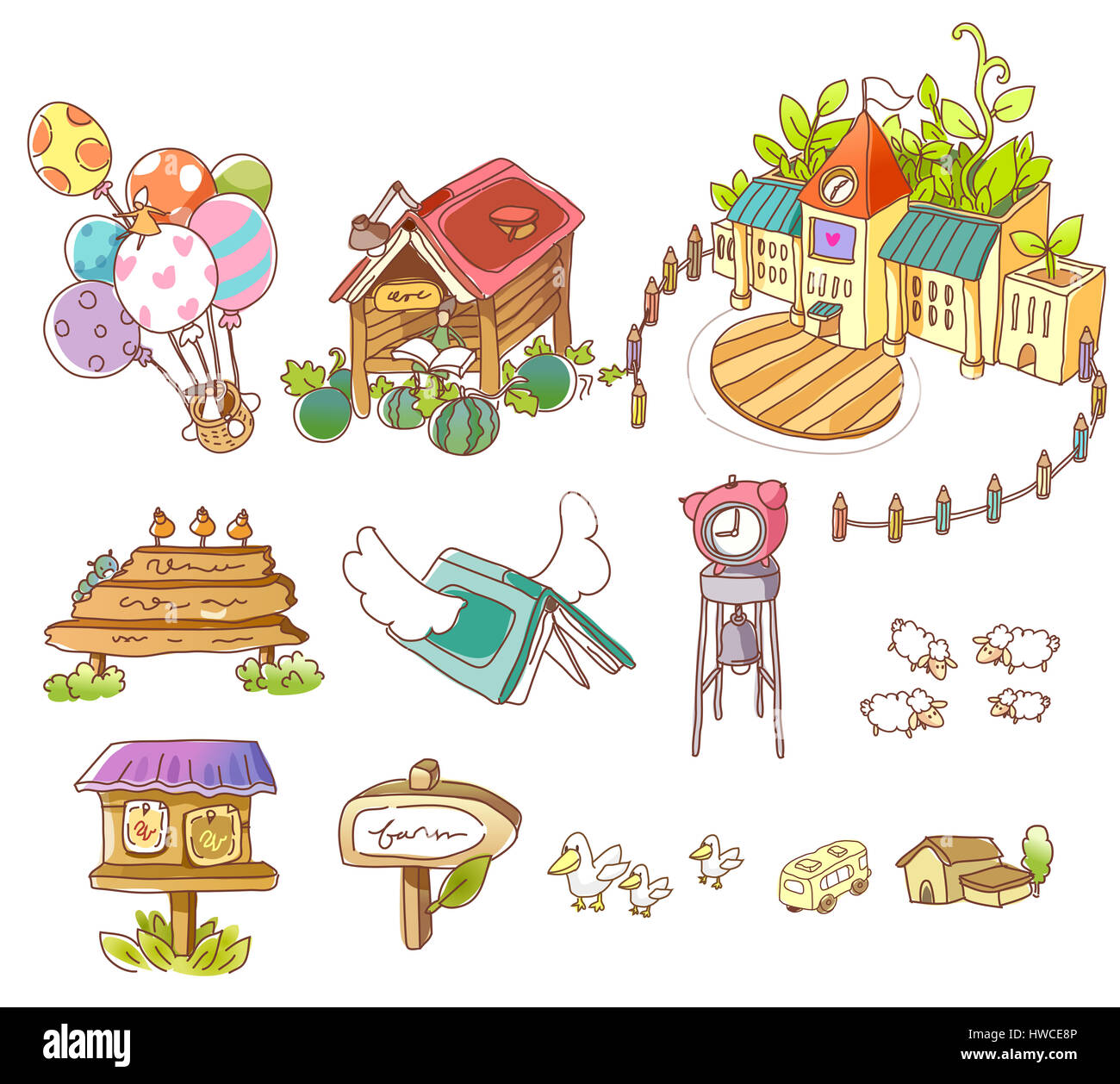 alarm clock,architecture,arrangement,arrow sign,bizarre,book,building,building exterior,built structure,bus,clock - Stock Image
