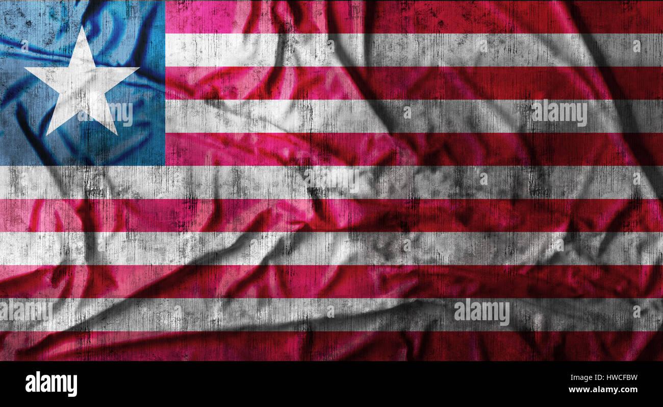 Grunge crumpled Liberia flag. 3d rendering - Stock Image