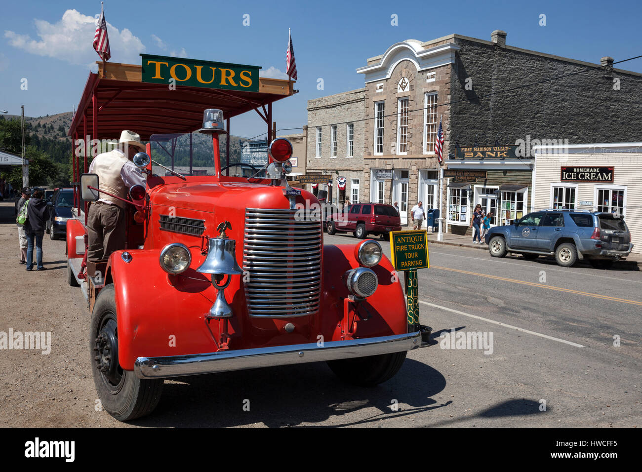 Oldtimer for tourist tours, Virginia City, former gold mining town, Montana Province, USA - Stock Image