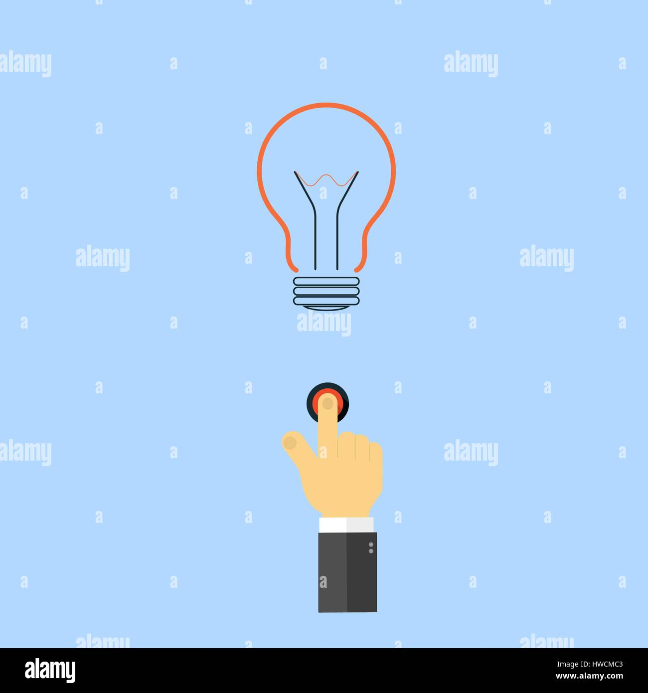 The hand presses the light button. The concept of innovation of new discoveries. Vector illustration . - Stock Vector