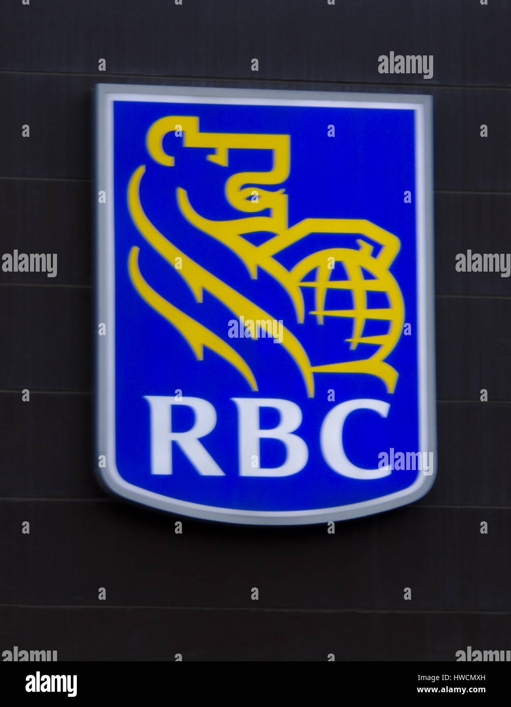 A Royal Bank of Canada (RBC) logo in Calgary, Alberta, Canada. - Stock Image