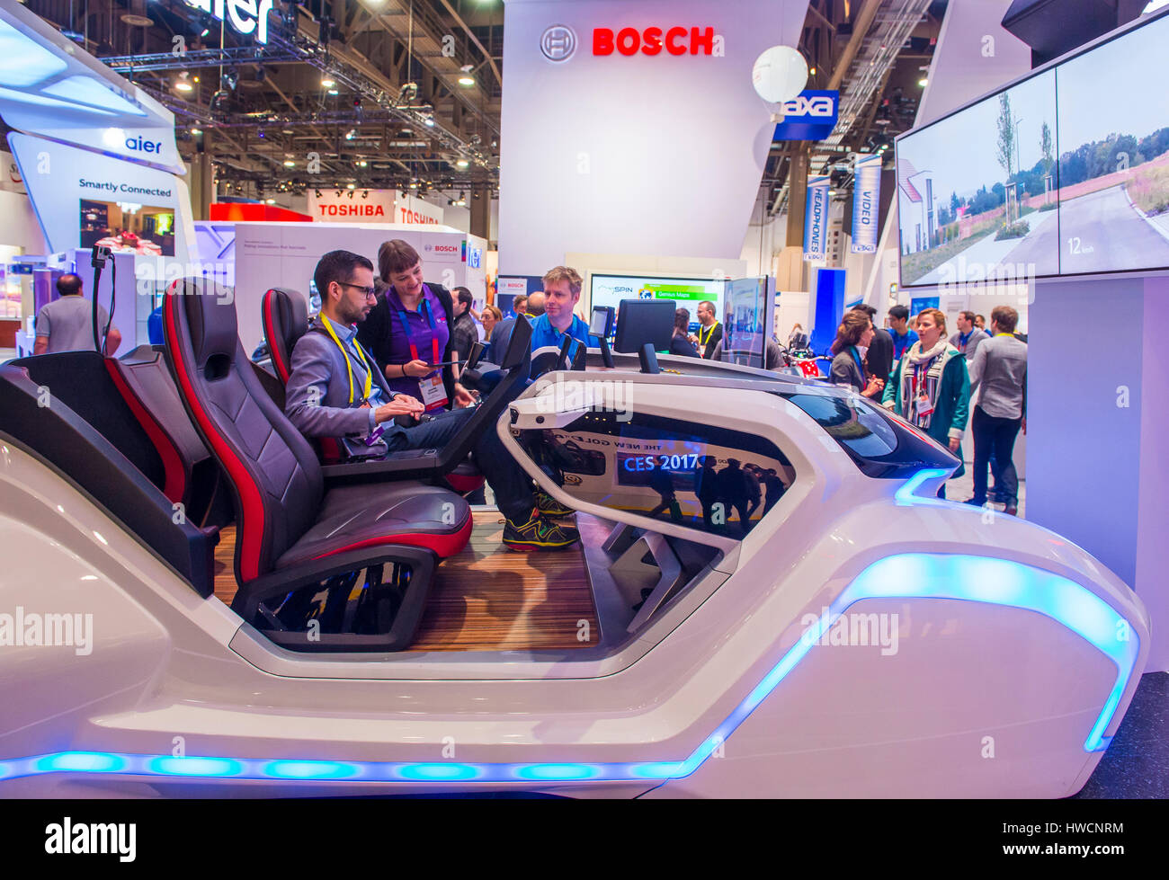 LAS VEGAS - JAN 08 : The Bosch booth at the CES show in Las Vegas on January 08 2017 , CES is the world's leading Stock Photo
