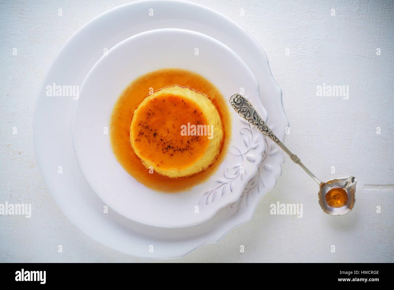 Creme Caramel. Flan. - Stock Image