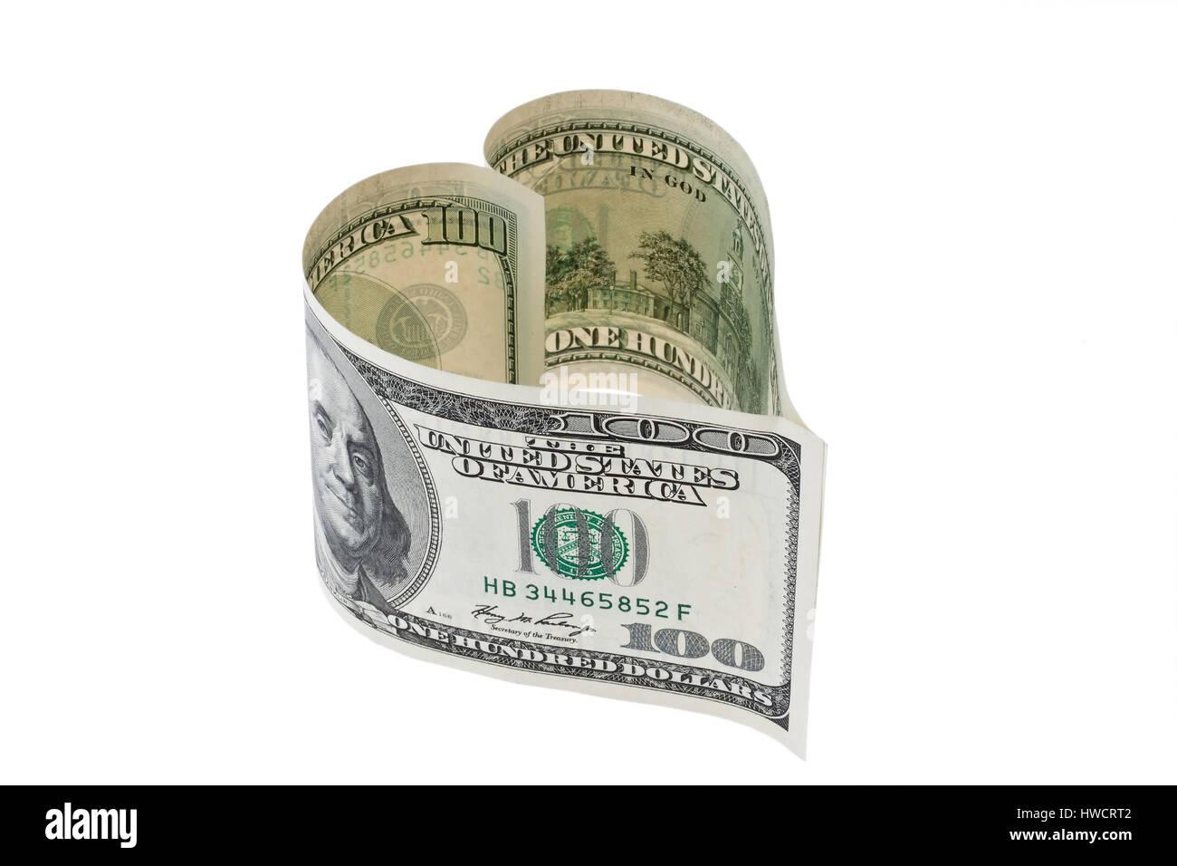 100 dollars of bank note in heart form, 100 Dollar Geldschein in Herzform - Stock Image